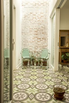 Gorgeous cement tiles. Love the pattern and colors!