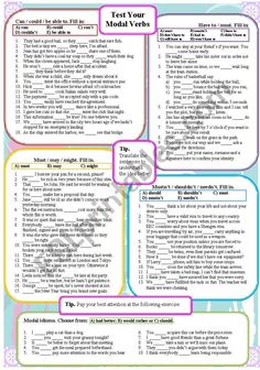 Test your Modal Verbs - ESL worksheet by English Grammar Exercises, English Grammar Worksheets, Verb Worksheets, English Vocabulary, English Writing Skills, English Lessons, Teaching English, English Class, Learn English Words