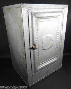 Vintage Pie Safe Bread Box Pressed Tin Cabinet Metal Cupboard ...