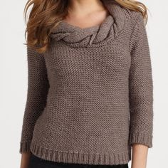 Chunky Knit Braided Collar Sweater Slightly cropped, chunky knit style with wrap-around braided collar and on trend cropped three-quarter sleeves. Tibi Sweaters Crew & Scoop Necks
