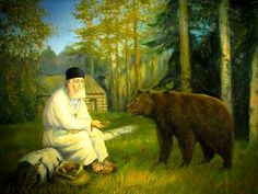 The saint and his bear - Saint Seraphim of Sarov The Gift Of Prophecy, Out Of The Woods, Byzantine Icons, Russian Orthodox, Religious Icons, Gold Wood, The Visitors, Christian Life, Holy Spirit