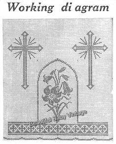 Vintage Lily Cross Altar Cloth Religious Christening Filet Crochet Pattern | eBay