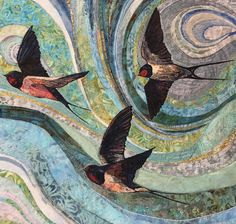 'A Swoop of Swallows' by Rachel Wright (machine embroidery)