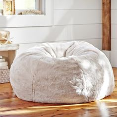 Ivory Polar Bear Faux Fur Beanbag | PBteen