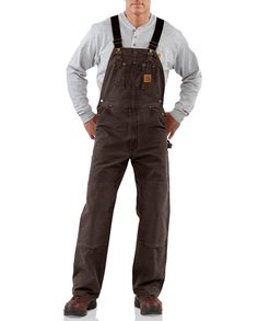 Carhartt Dark Brown Sandstone Unlined Bib Overalls - Bibs & Coveralls - Workwear