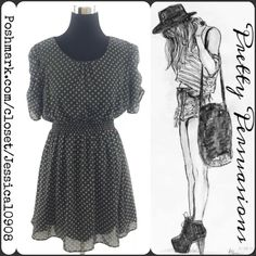 """Bar lll Apple Print Polka Dot Retro Mod Dress Bar III Black Dress   Features:  • Red/Green Apple Polkadots • Short Sleeves • Scoop Neck • Elasticized  Waist  Size: Large All measurements in inches . Length 33"""" . Bust 36"""" . Waist 24"""" (elasticized, measured unstretched)  . Hips 38""""  Bundle discounts available  No pp or trades   Thank you. Xo ❤️••• Bar III Dresses"""