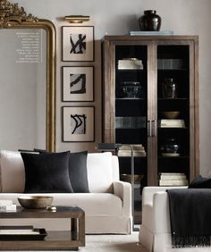 RH Source Books. Living room harmony in white, black, gray, brown and gold.