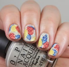Wondrously Polished: NAGG - Day 7: Primary Colors, Rose Nail Art