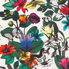Tulipan Cotton Fabric - A daring cotton fabric with a composition of bold multicoloured flowering tulips and darting butterflies on an ivory ground. Tulipan, the original name for a tulip, derives from the word for turban whose shape the flower resembles. Contemporary Upholstery Fabric, Floral Upholstery Fabric, Fabric Decor, Fabric Design, Cotton Fabric, Curtain Fabric, Botanical Interior, Chinese Fabric, Living Room Colors