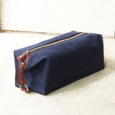 Men's Toiletry Bag, Monogrammed, Embossed Leather Strap, Waxed Cotton Canvas and Leather Dopp Kit