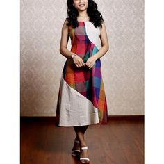 Multicolour Checks Wave White Midi Dress is part of Dresses - Casual Cotton Outfit with Multicolour wave pattern Aline Fit, Midi length Dress Kurta Designs Women, Salwar Designs, Kurti Neck Designs, Dress Neck Designs, Kurti Designs Party Wear, Blouse Designs, Frock Fashion, Fashion Dresses, Casual Frocks