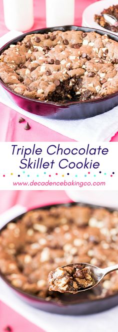 Triple Chocolate Skillet Cookie with Salted Caramel: A fudgy, gooey chocolate skillet cookie with semi-sweet chocolate chips, white chocolate chunks, and a layer of salted caramel.
