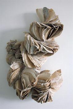 """""""Ecotype"""" paper wall sculpture by Ann Goddard. Sculptures Céramiques, Book Sculpture, Abstract Sculpture, Paper Structure, Wax Art, Artist Wall, Folded Book Art, Book Folding, Art Uk"""