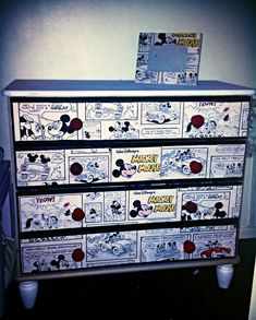 Mickey Mouse dresser using wallpaper