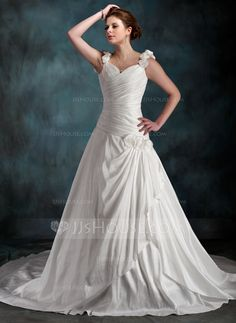 A-Line/Princess Sweetheart Chapel Train Taffeta Wedding Dress With Ruffle Flower(s) (002011590) - JJsHouse