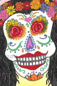 Print of Original Day of the Dead Brunette Watercolor Painting 4x6 | ArizonaAhoteArt - Print on ArtFire