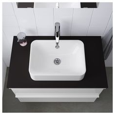 Basement WC - Sink Dimensions cm HÖRVIK Lavabo à poser - IKEA Less depth means could add a small shelf underneath. Soapstone Countertops, Epoxy Countertop, Countertop Materials, Kitchen Countertops, Ikea Bathroom, Upstairs Bathrooms, Bathroom Ideas, Bathroom Sinks, Basement Bathroom