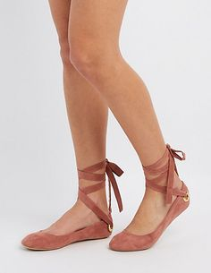 b4241e271d3c Qupid Lace-Up Ballet Flats. Pointed Ballet FlatsStrappy FlatsPointy Toe ...