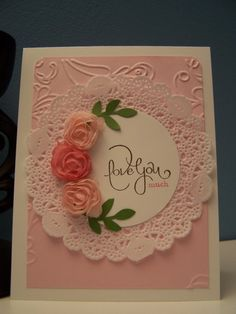 elegant lines embossing folder Embossed Cards, Pretty Cards, Valentine Day Cards, Cool Cards, Flower Cards, Anniversary Cards, Scrapbook Cards, Homemade Cards, Stampin Up Cards
