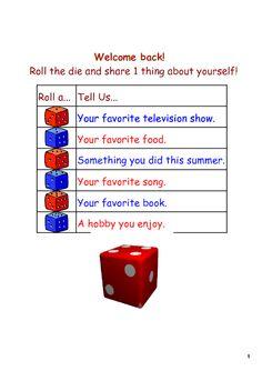 Nice Icebreaker!! It is an interactive smartboard file, dice rolls when kids tap…