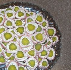 ham, cream cheese, pickle roll ups aka: St. Louis Sushi!    These are the best.  Got this recipe originally from Maryellen!!