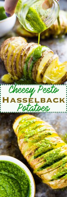 Cheesy Pesto Hasselback Potatoes