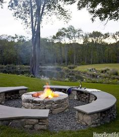 Want a traditional built in looking fire pit without the mess of burning wood? Build it with a DIY gas kit! So easy to use and burns clean! www.outdoorrooms.com