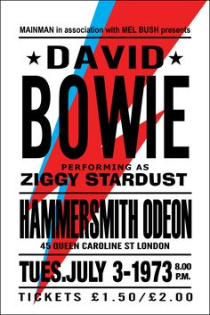 """David Bowie Poster Concert Poster, Rare, Ziggy Stardust Poster Hammersmith Odeon Large 24"""" x 36"""""""