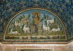 The Good Shepherd mosaic, Mausoleum of Galla Placida, Ravenna, 425-450 (Early Christian)