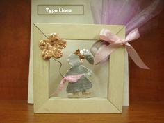 Καδράκι μπομπονιέρα βάπτισης με μεταλλικό κοριτσάκι-λουλούδι