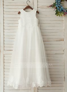 [US$ 59.99] A-Line/Princess Floor-length Flower Girl Dress - Satin/Lace Sleeveless Scoop Neck With Bow(s) (010122552)