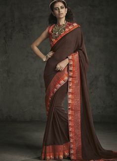 Coco Brown Embroidery Work Fancy Party Wear Designer Sarees http://www.angelnx.com/Sarees/Party-Wear-Sarees