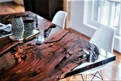 Walnut epoxy resin tableother seeminglive edgeepoxy river
