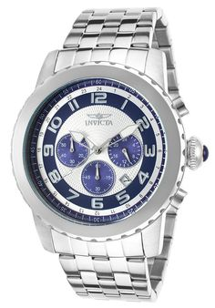 NEW Invicta 19462 Men's Specialty Chrono Stainless Steel Silver-Tone Navy Blue #Invicta #Chronograph