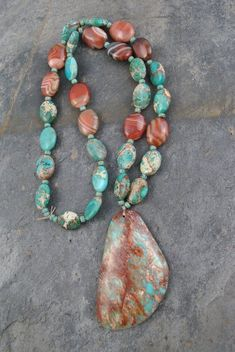 24 Inch Orange and White Crab Agate with Blue Sea Sediment Accents with Earrings