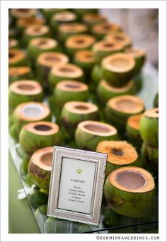 Tropical wedding drinks served in real coconuts!