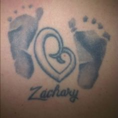 My Zachary tattoo <3 mother love heart with his name and little feet <3