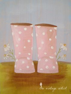 Pink Wellies - Pink Rain Boots Art Print 10 x 8 inches.