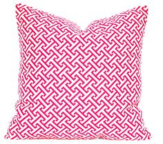 Trellis Modern Geometric Designer Pillow 18x18 Pink Raspberry Ivory Accent Throw Cushion Cover hollywood regency imperial lattice
