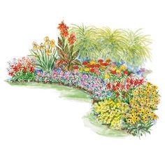 Low-Maintenance Summer Treat  Extra-tough plants combine in this plan for a great summer garden that looks great even from inside your house.  Garden size: 14 by 9 feet.