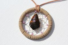 Traumfänger Halskette  Eine ausgefallene Halskette - mit einem Dreamcatcher - Traumfänger kombiniert.  Ein Ring mit einem Durchmesser von 5 cm...