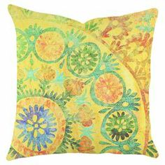 """Showcasing a lovely medallion motif, this eye-catching handmade pillow adds a chic pop of pattern to your sofa or favorite arm chair. Made in the USA.   Product: PillowConstruction Material: Cotton denimColor: MultiFeatures:  Zipper enclosureMade in the USA Handmade by TheWatsonShop Insert includedDimensions: 16"""" x 16"""""""
