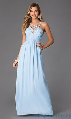 Floor Length Criss Cross Prom Dress at SimplyDresses.com