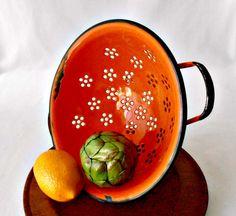 Mid Century Enamelware Colander Orange Enamel by GSaleHunter