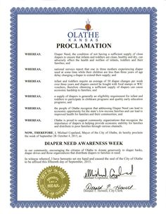 Olathe, KS - Mayoral proclamation recognizing Diaper Need Awareness Week (Sept. 28 - Oct. 4, 2015) #DiaperNeed www.diaperneed.org