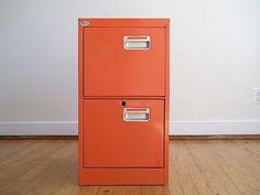 Orange Mid Century Industrial Office Filing Cabinet, Back To School Office Supply Decor, Orange Metal, Urban Industrial Man Gift, Loft Decor