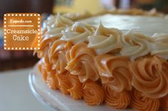 An easy 4 step recipe for creamsicle cake! Cake is made with white cake mix and orange soda, nothing more! Sweets Recipes, Easy Desserts, Delicious Desserts, Cake Recipes, Yummy Food, Creamsicle Cake, Orange Creamsicle, Yummy Treats, Sweet Treats