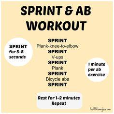 Sprint and ab workout. Visit http://thelittlehoneybee.com/2013/08/20/sprint-ab-workout/
