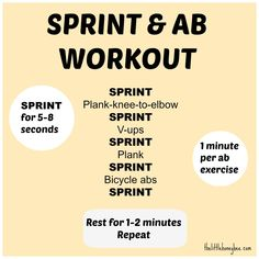 Sprint and ab workout. Visit http://thelittlehoneybee.com/2013/08/20/sprint-ab-workout/