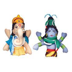 Shiva + Ganesh now featured on Fab. [Finger puppets, deities, Philosophers Guild]